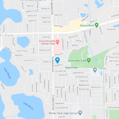 Map showing location of  AdventHealth Medical Group Neurology at Winter Park.